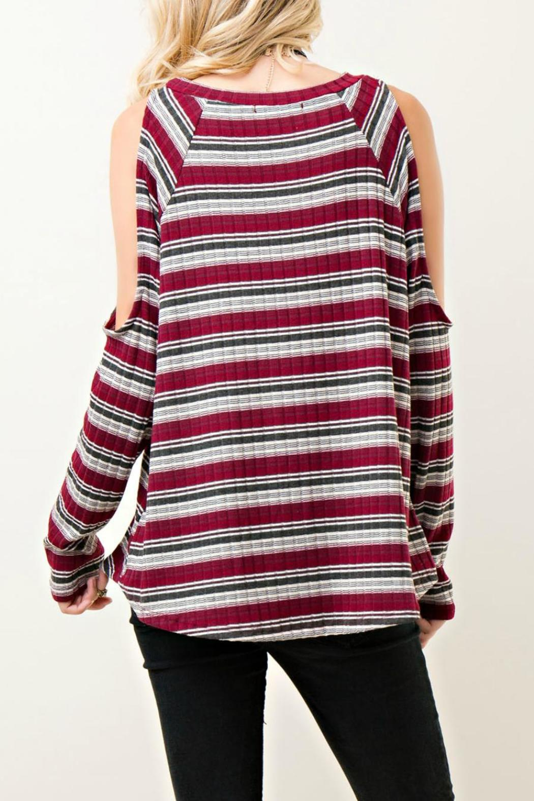 Entro Striped Open Shoulder Top - Front Full Image