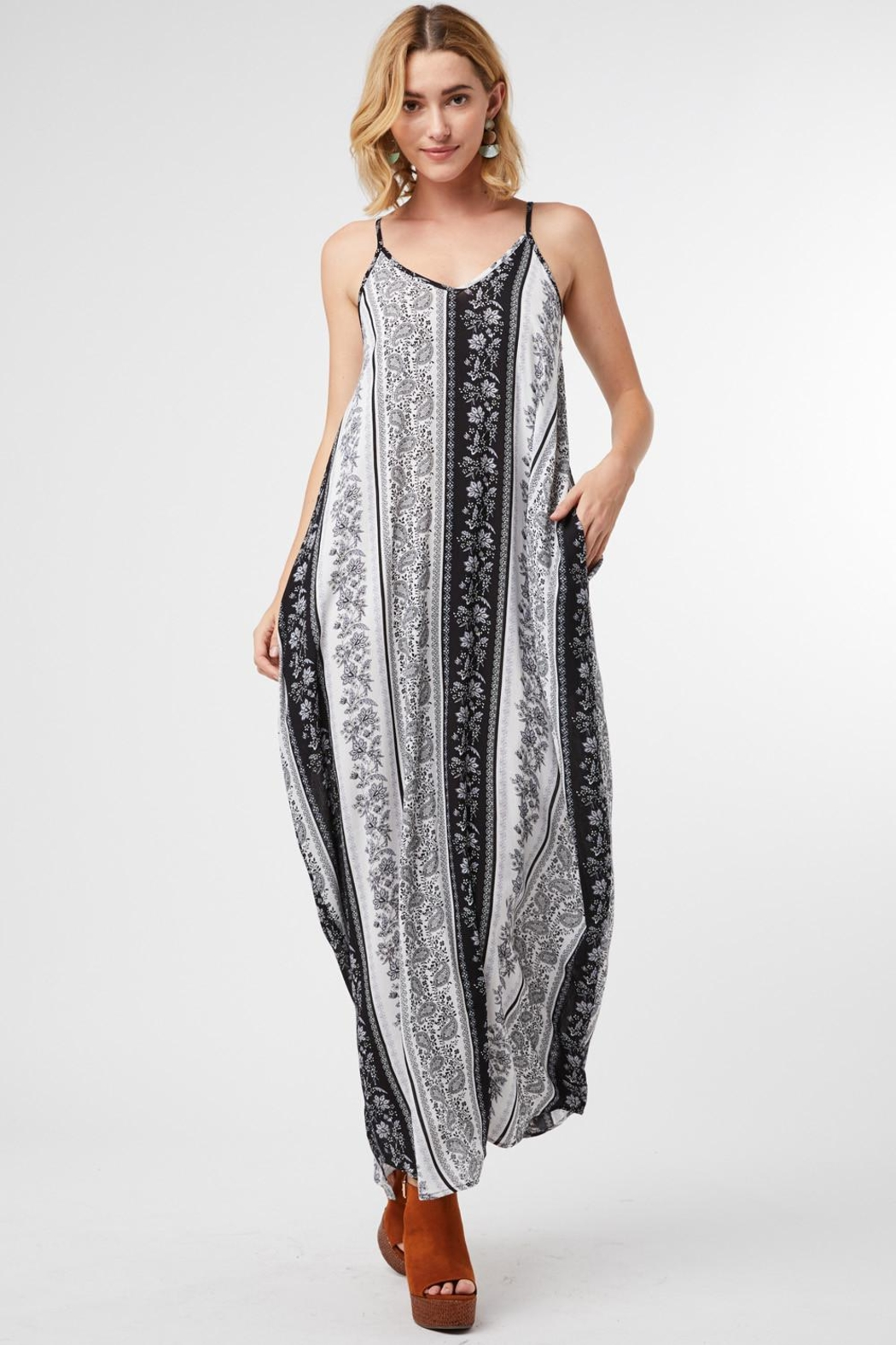 Entro Striped Paisley V-Neck Maxi Dress - Front Cropped Image