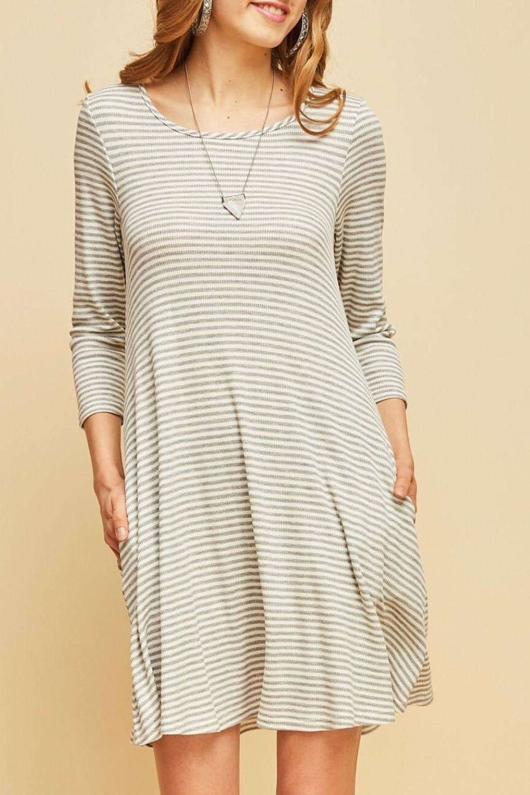 Entro Striped Shift Dress - Front Full Image