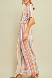 Entro Striped Shortsleeve Jumpsuit - Front full body