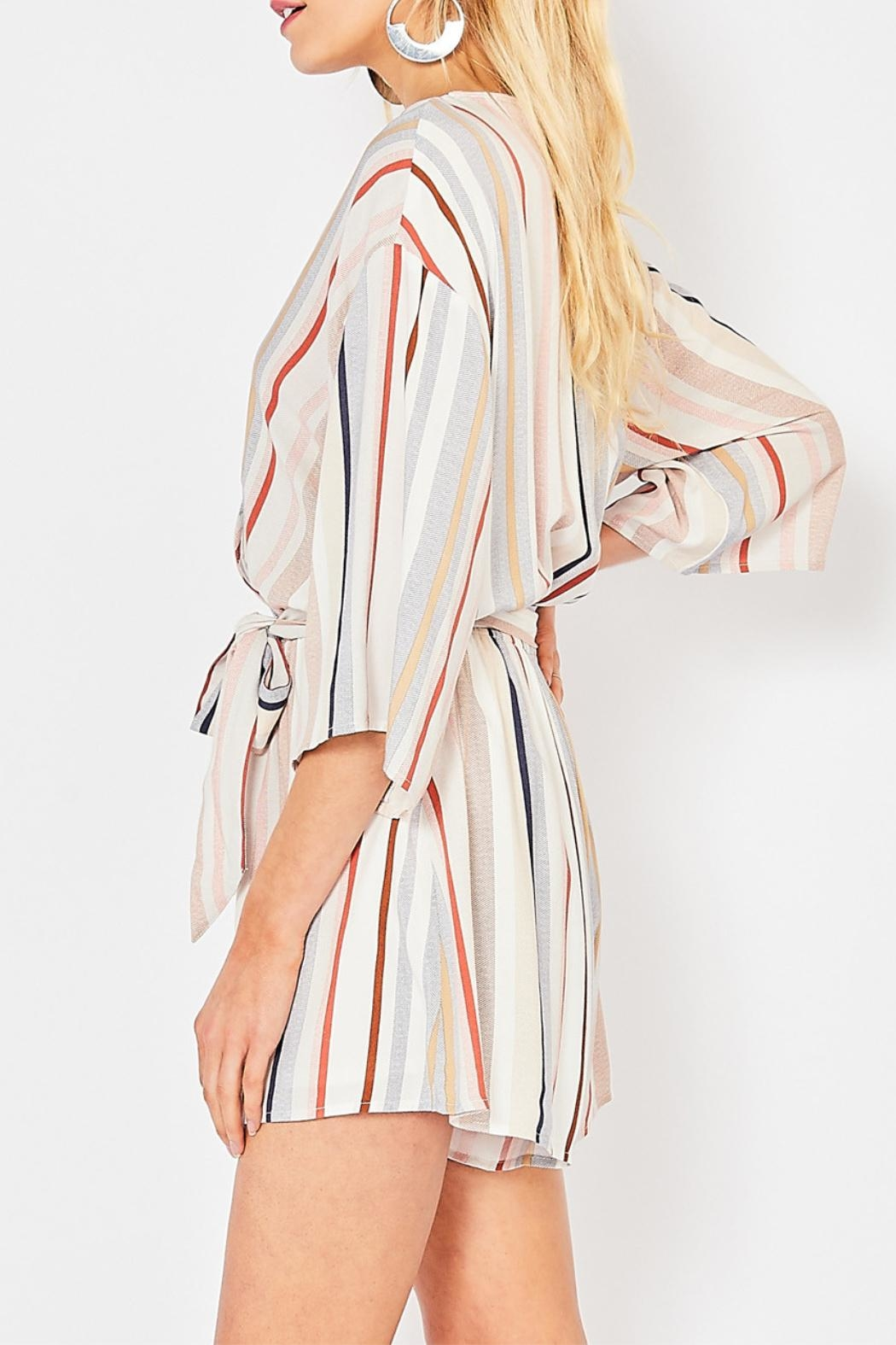 Entro Striped V-Neck Romper - Front Full Image