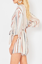 Entro Striped V-Neck Romper - Front full body