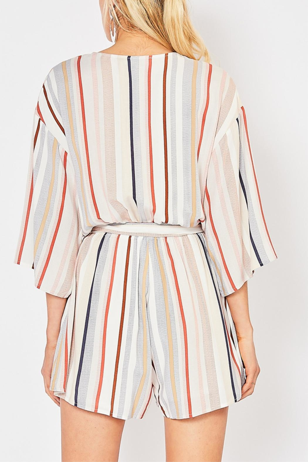 Entro Striped V-Neck Romper - Side Cropped Image