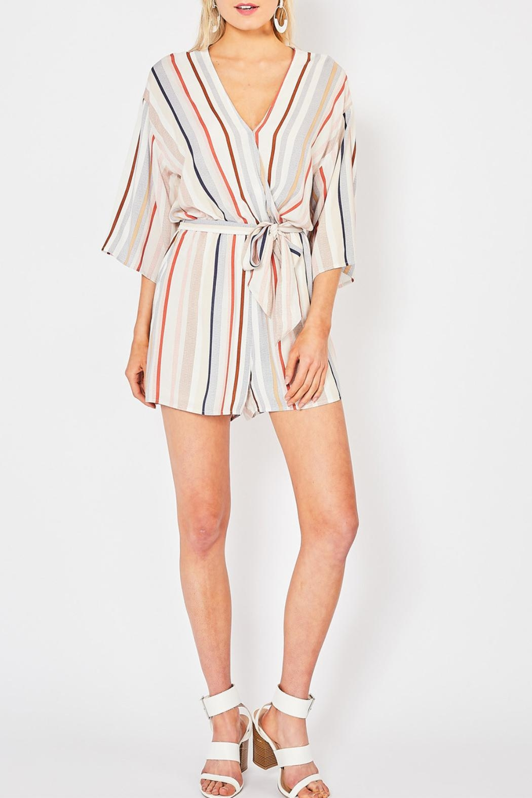 Entro Striped V-Neck Romper - Main Image