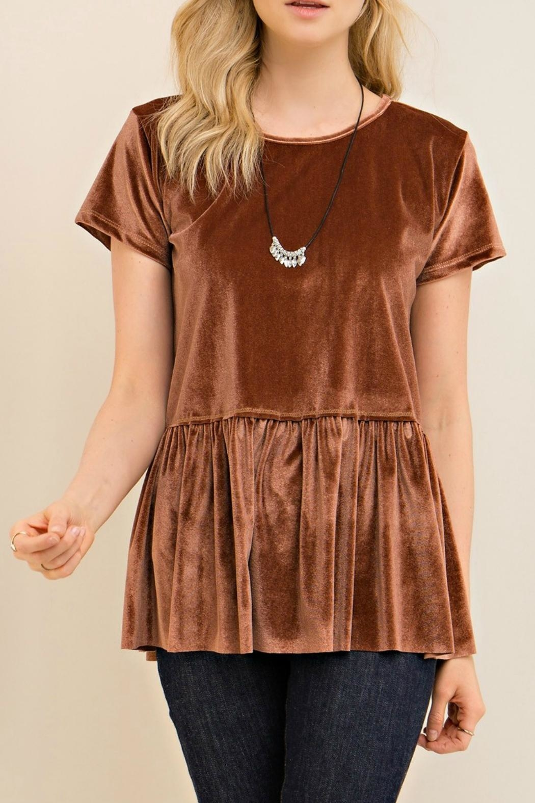 Entro Tan Velvet Top - Front Full Image