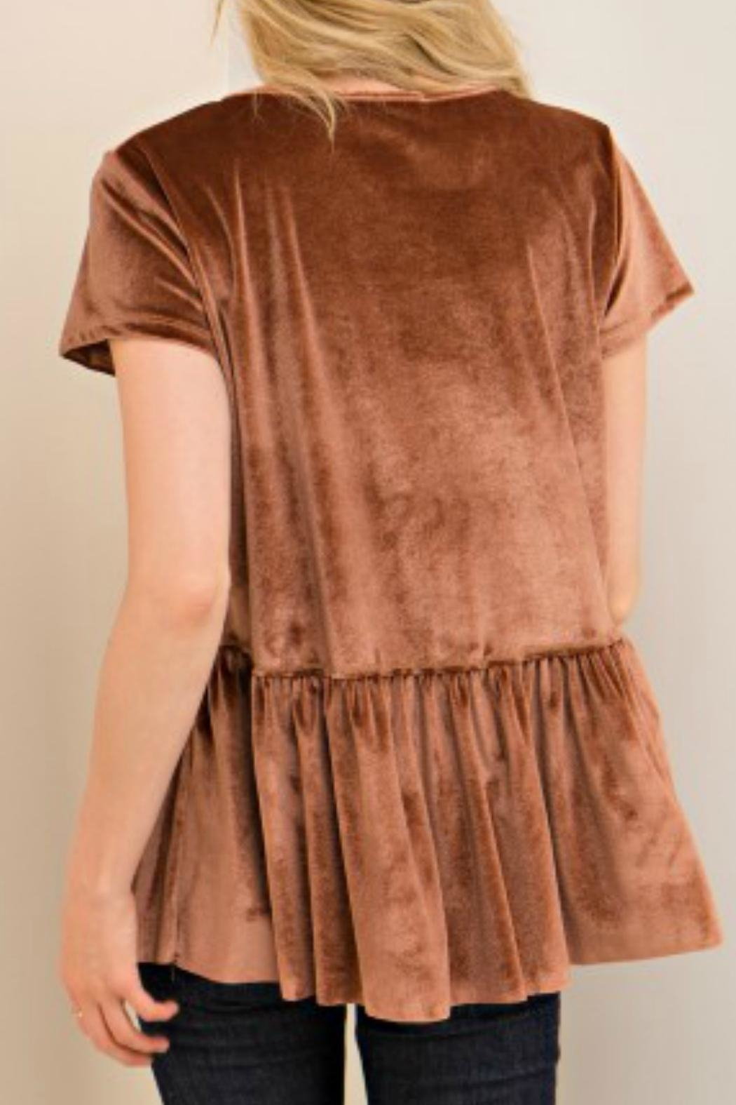 Entro Tan Velvet Top - Back Cropped Image