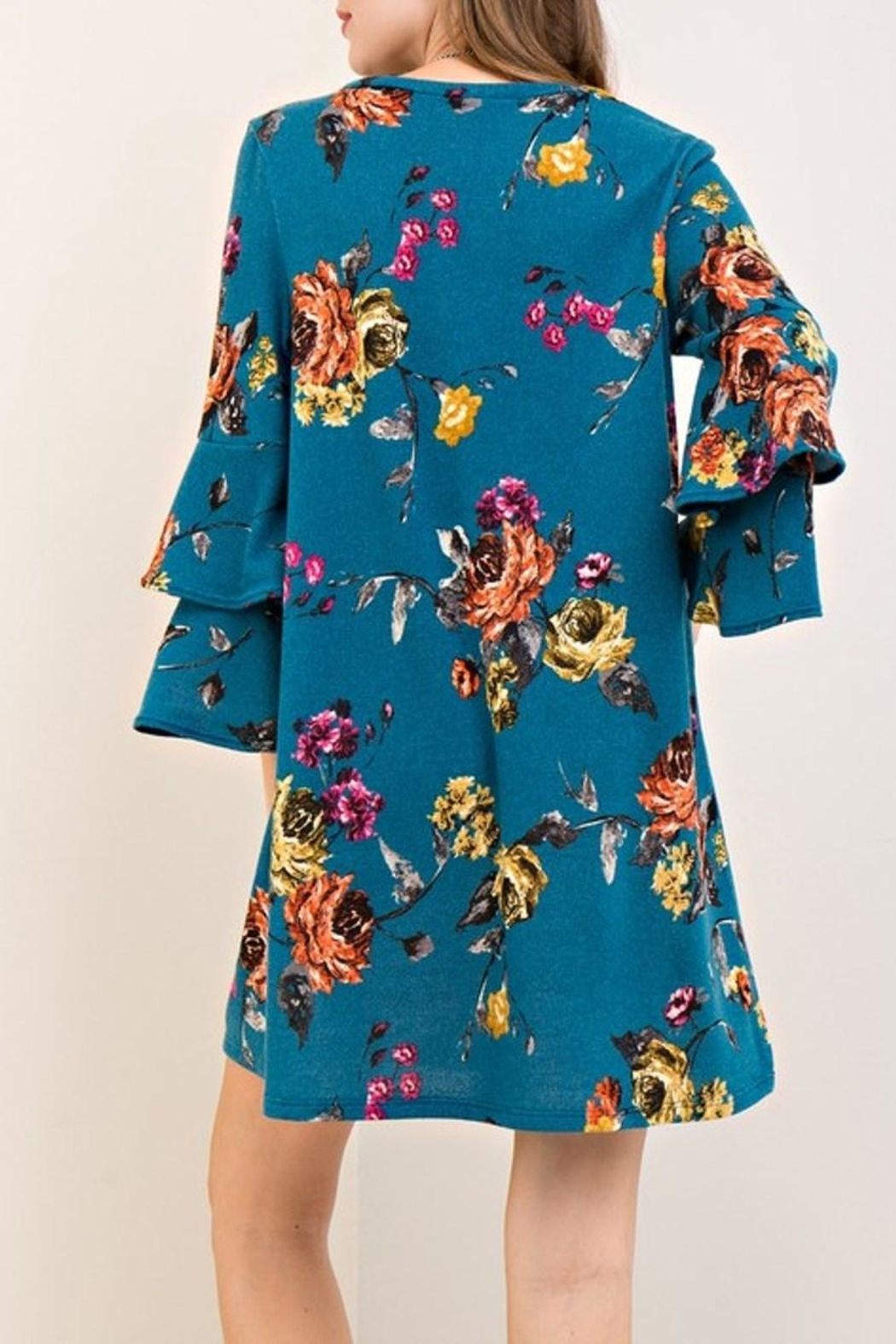 Entro Teal Floral Dress - Side Cropped Image