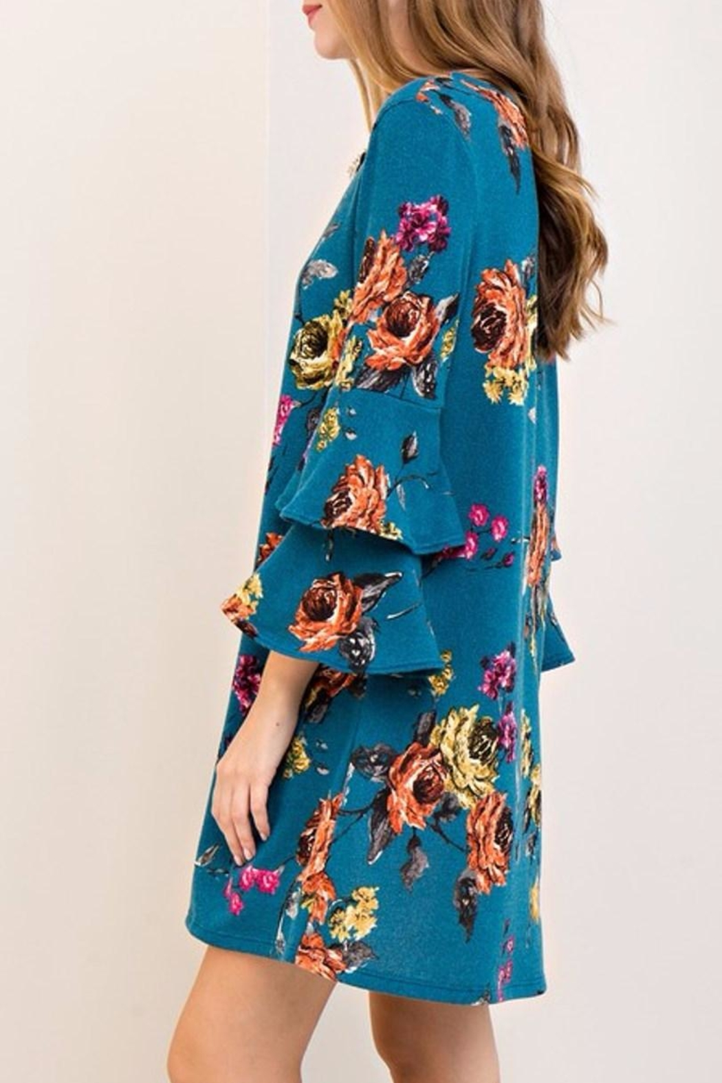 Entro Teal Floral Dress - Front Full Image