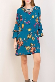 Entro Teal Floral Dress - Front cropped