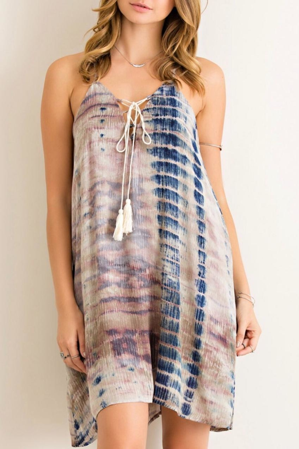 Entro Tie Dye Dress - Front Cropped Image