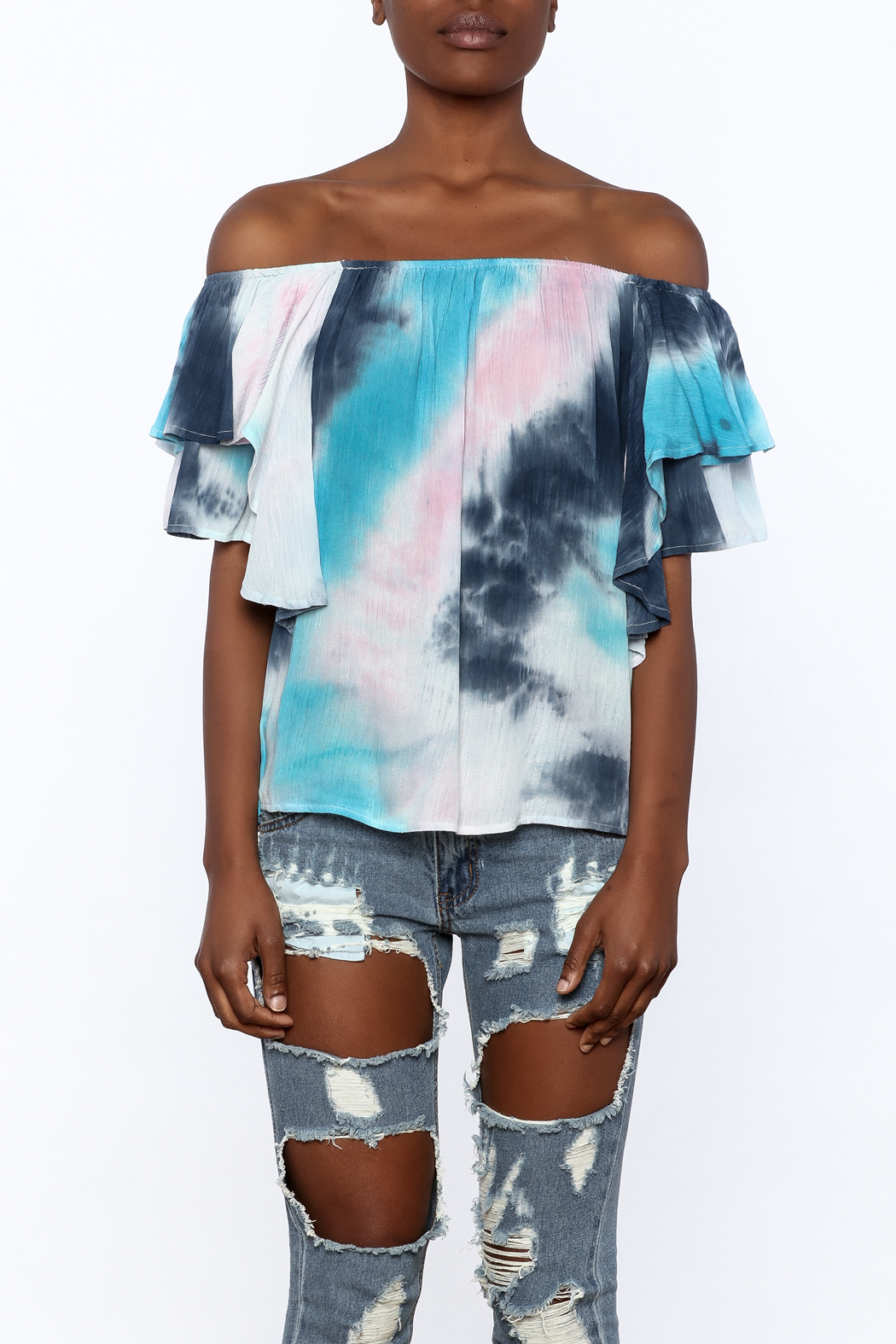 Entro Tie Dye Long Top - Side Cropped Image