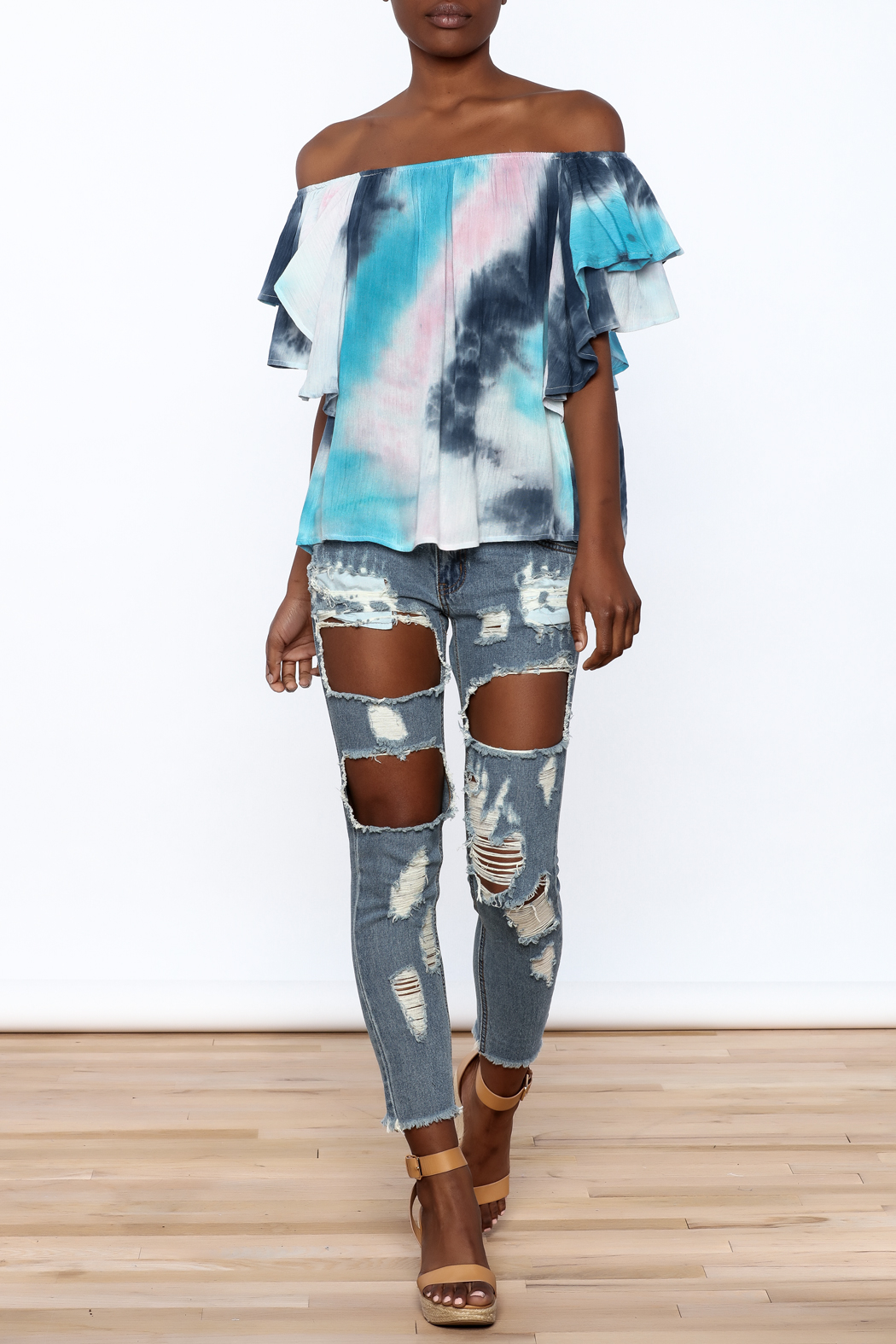 Entro Tie Dye Long Top - Front Full Image