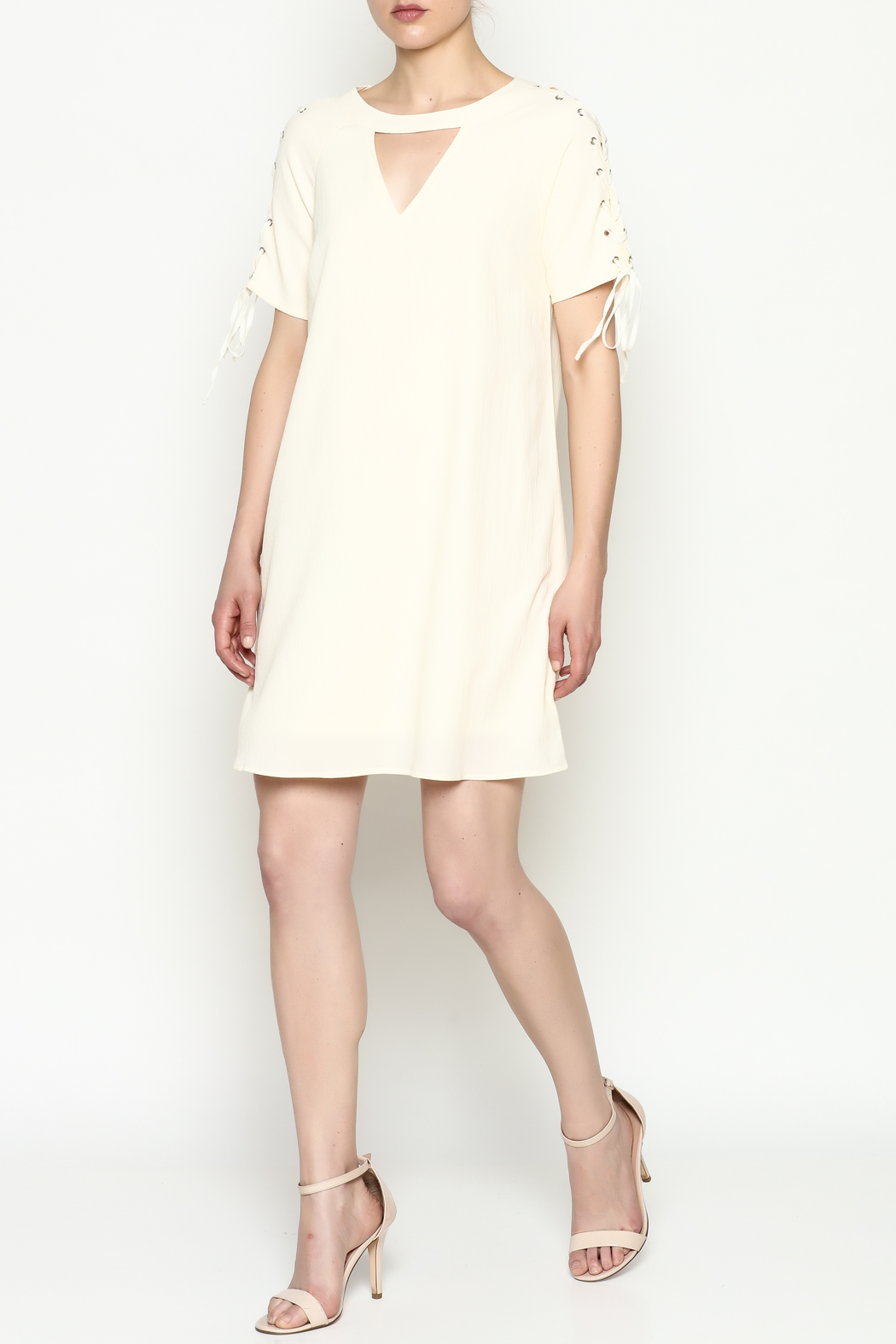 Entro Tie Sleeve Dress - Side Cropped Image