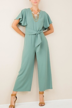 Shoptiques Product: V-Neck Belted Jumpsuit