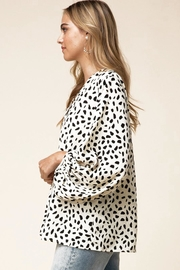 Entro V-Neck Blouse With Bubble Sleeves - Back cropped