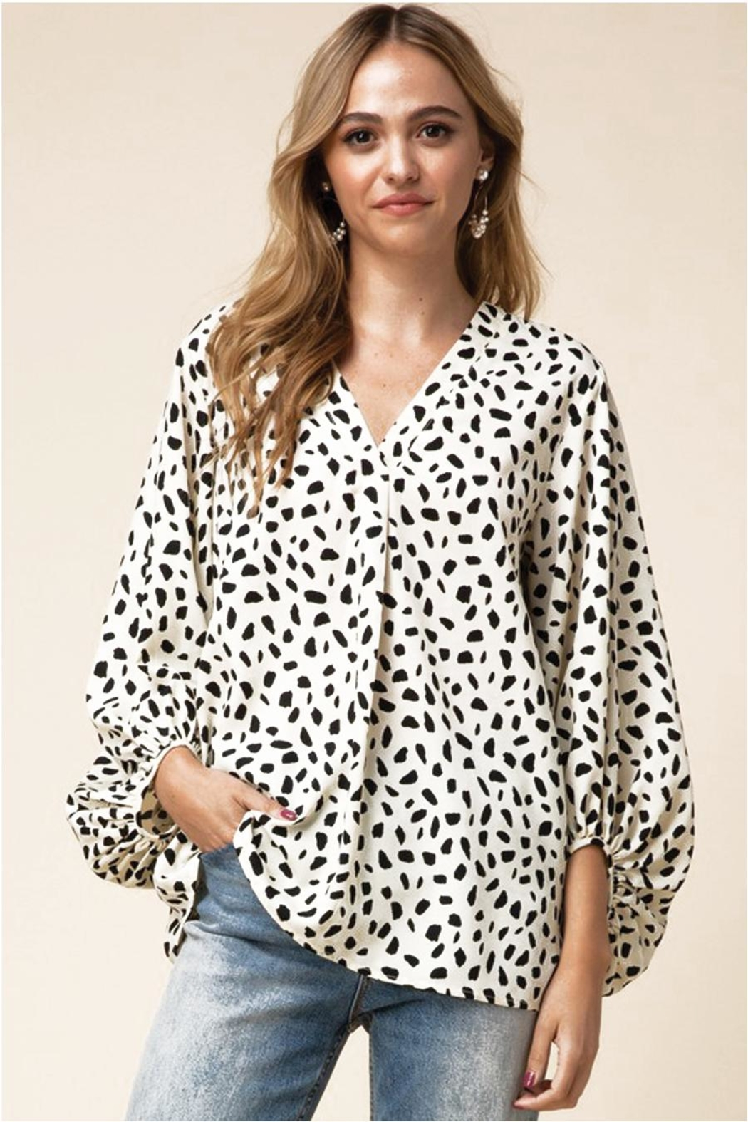 Entro V-Neck Blouse With Bubble Sleeves - Main Image
