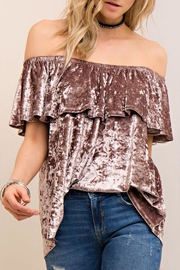 Entro Velvet Off-The-Should Top - Front full body