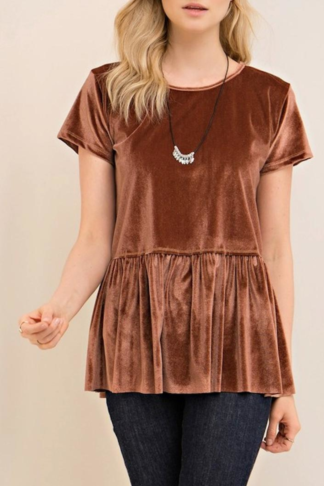 Entro Velvet Peplum Top - Front Cropped Image