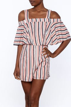 Entro Peach Stripe Print Romper - Product List Image