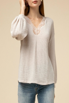 Entro Waffle-Knit Lace-Trim Top - Product List Image