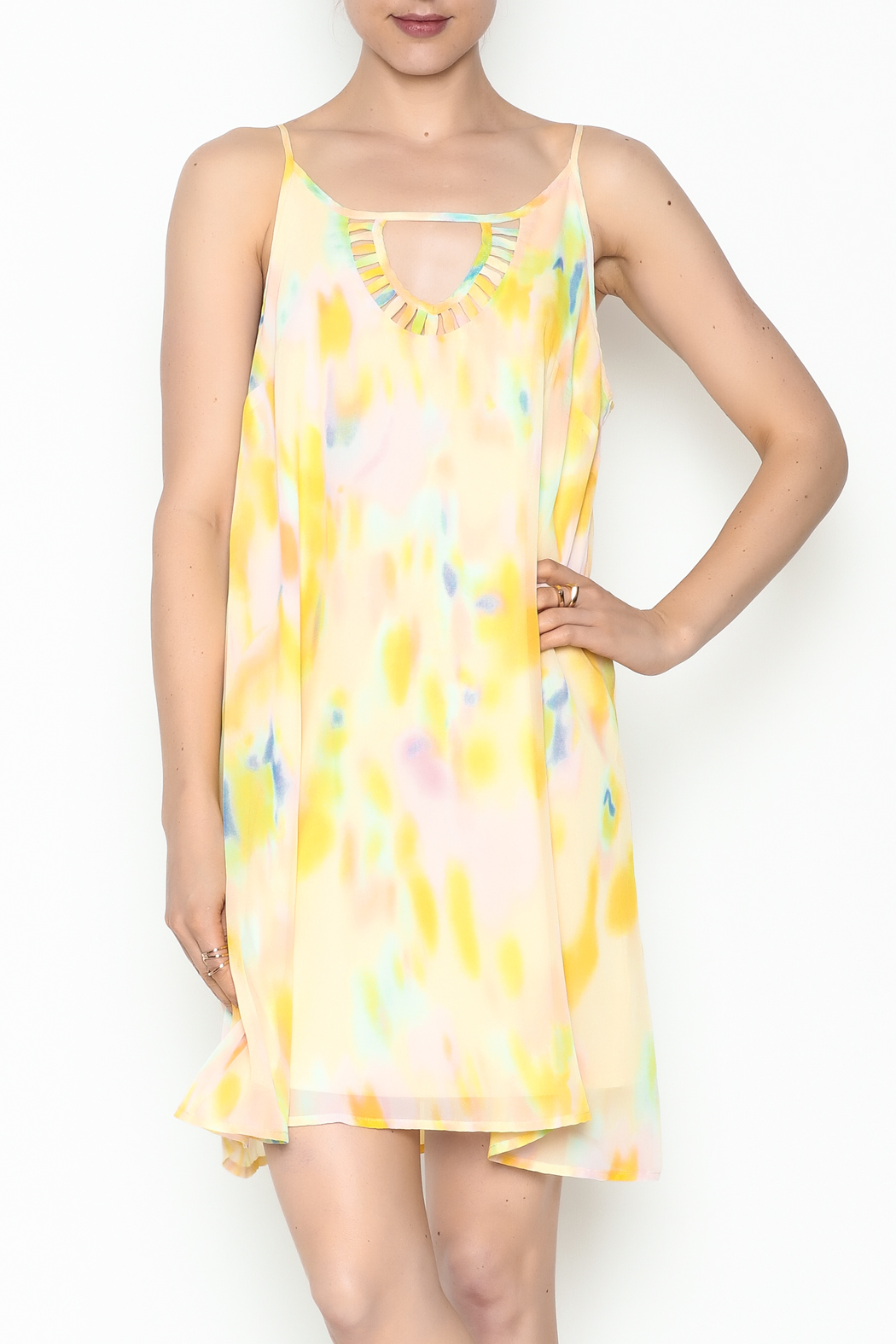 Entro Yellow Watercolor Dress - Main Image