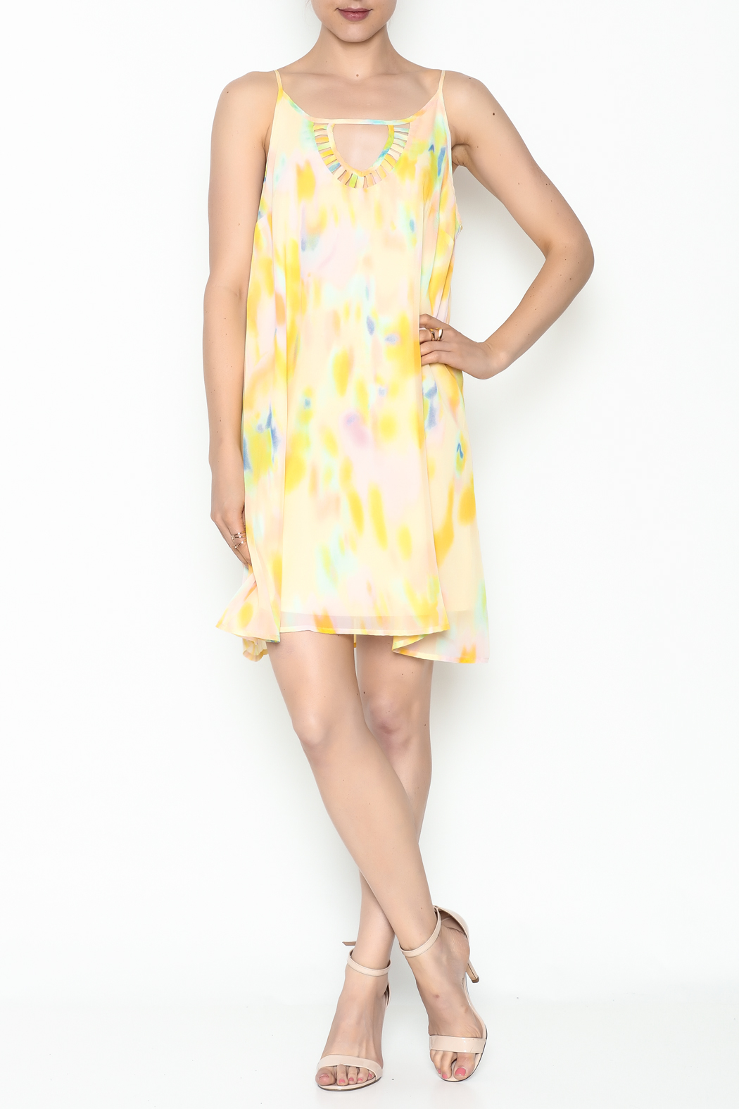 Entro Yellow Watercolor Dress - Side Cropped Image