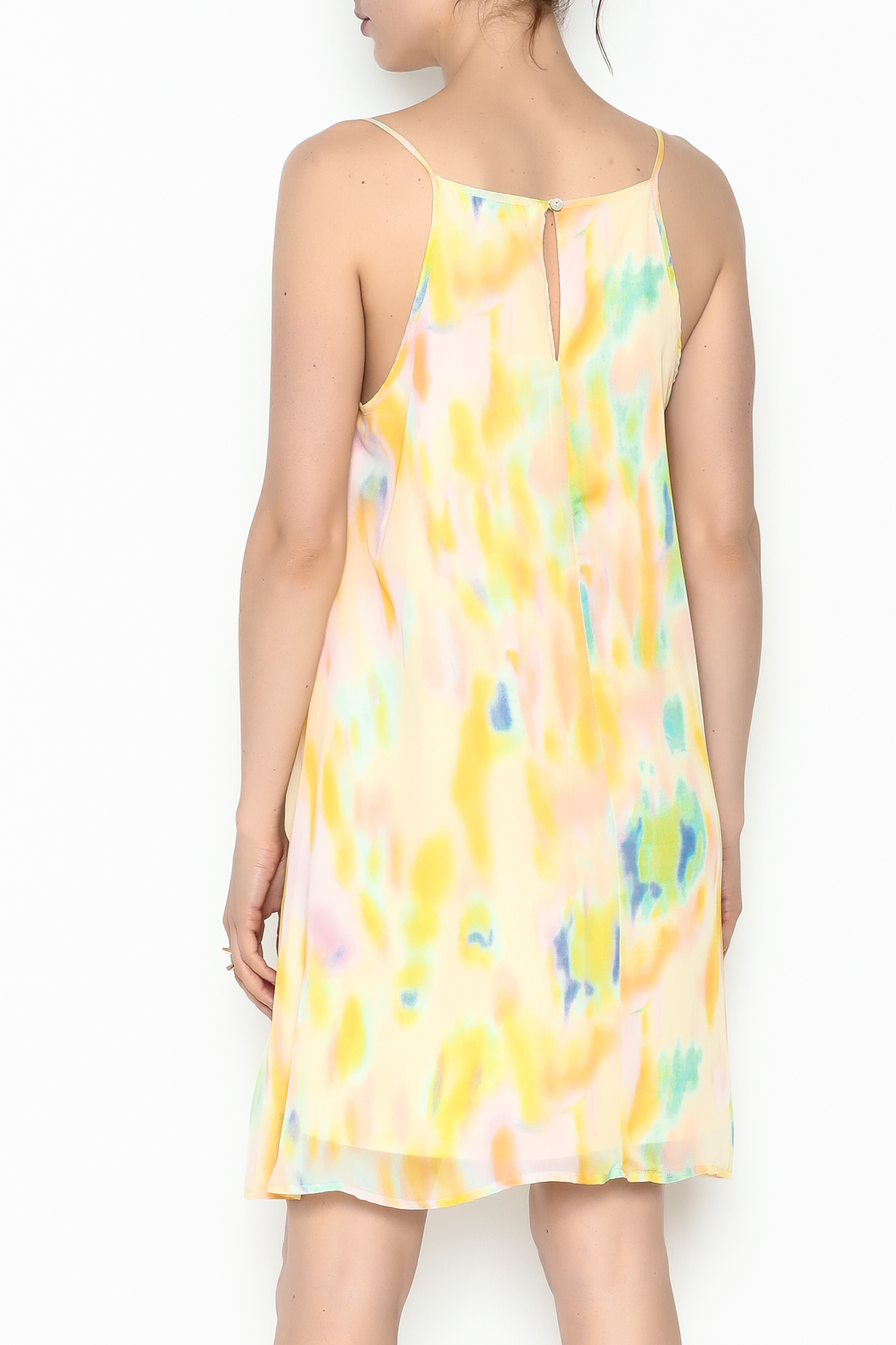Entro Yellow Watercolor Dress - Back Cropped Image