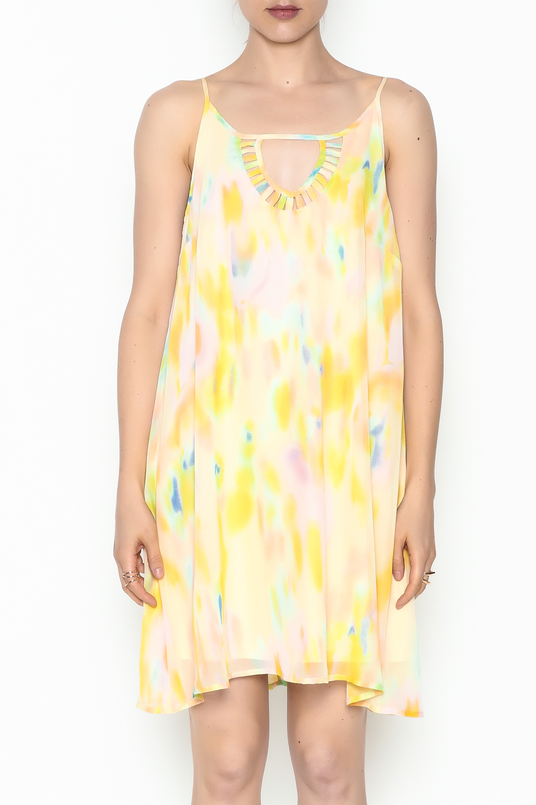 Entro Yellow Watercolor Dress - Front Full Image
