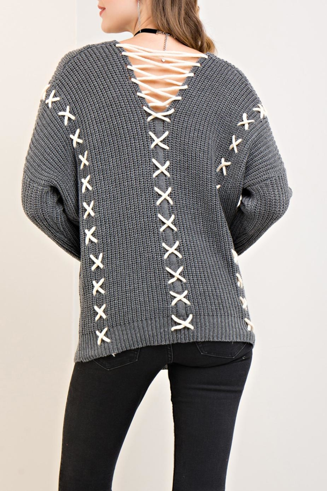 Entro X Lace-Up Sweater - Front Full Image