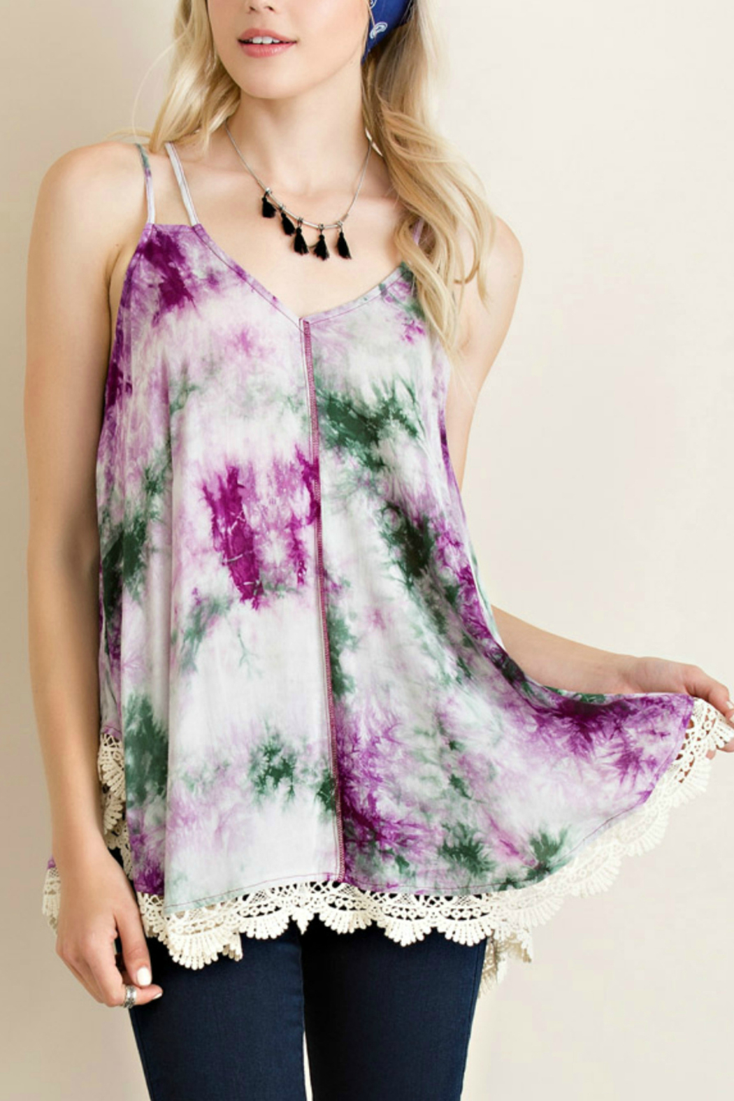 Entro Tie Dye Tank - Front Cropped Image