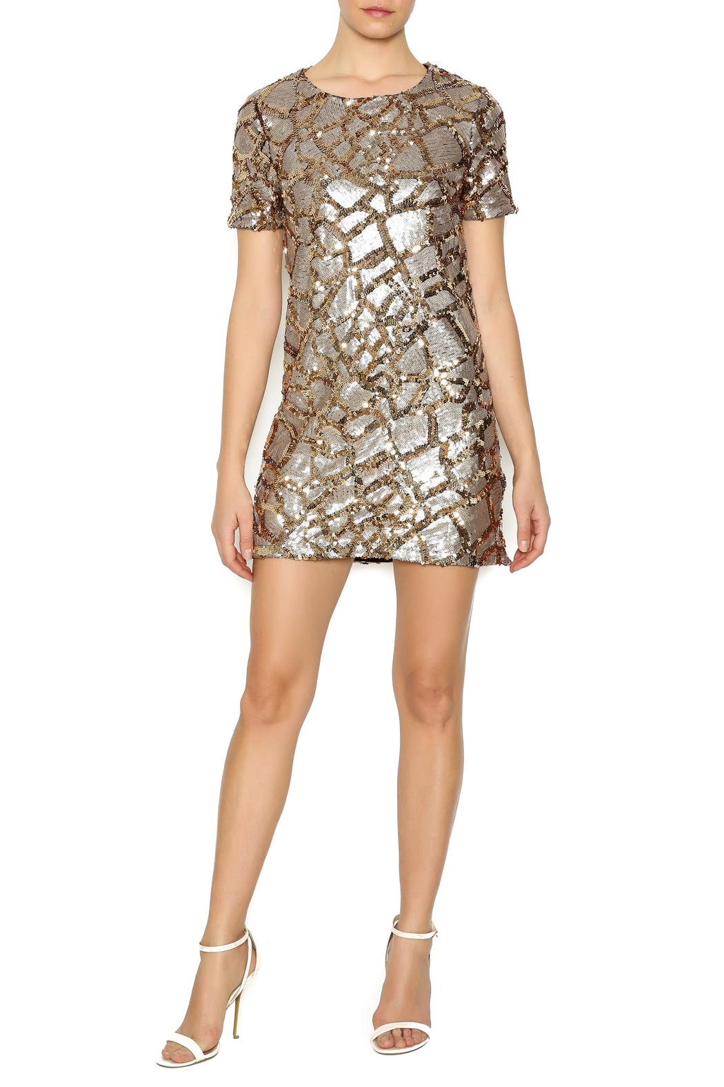 ENTRY Gold Sequin Dress - Front Full Image