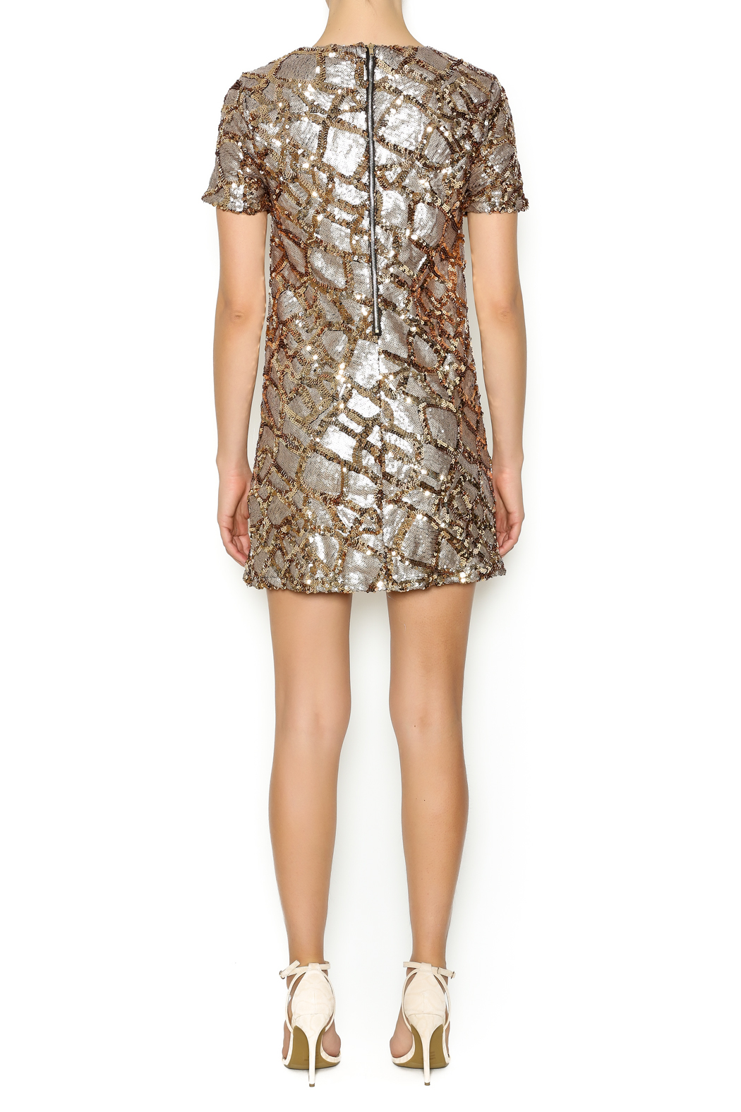 ENTRY Gold Sequin Dress - Side Cropped Image