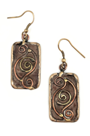 Anju Handcrafted Artisan Jewelry EP291 Brass Patina Earrings Brown with Curled Oval - Product Mini Image