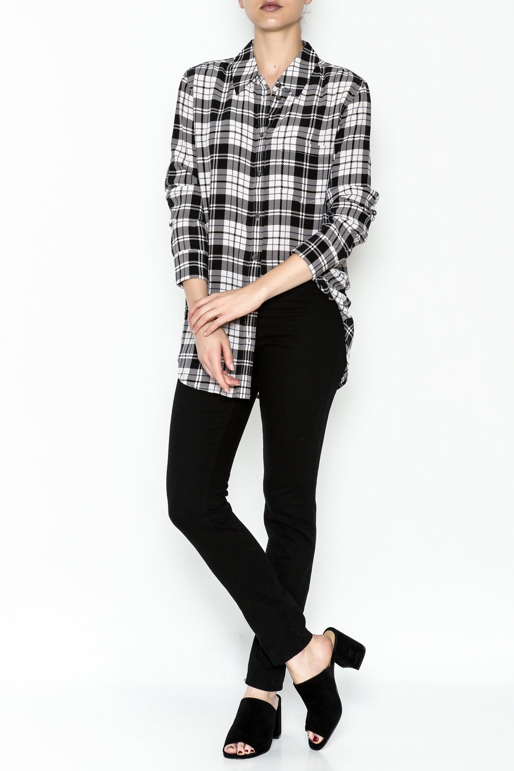Equipment French Nude Plaid Top - Side Cropped Image