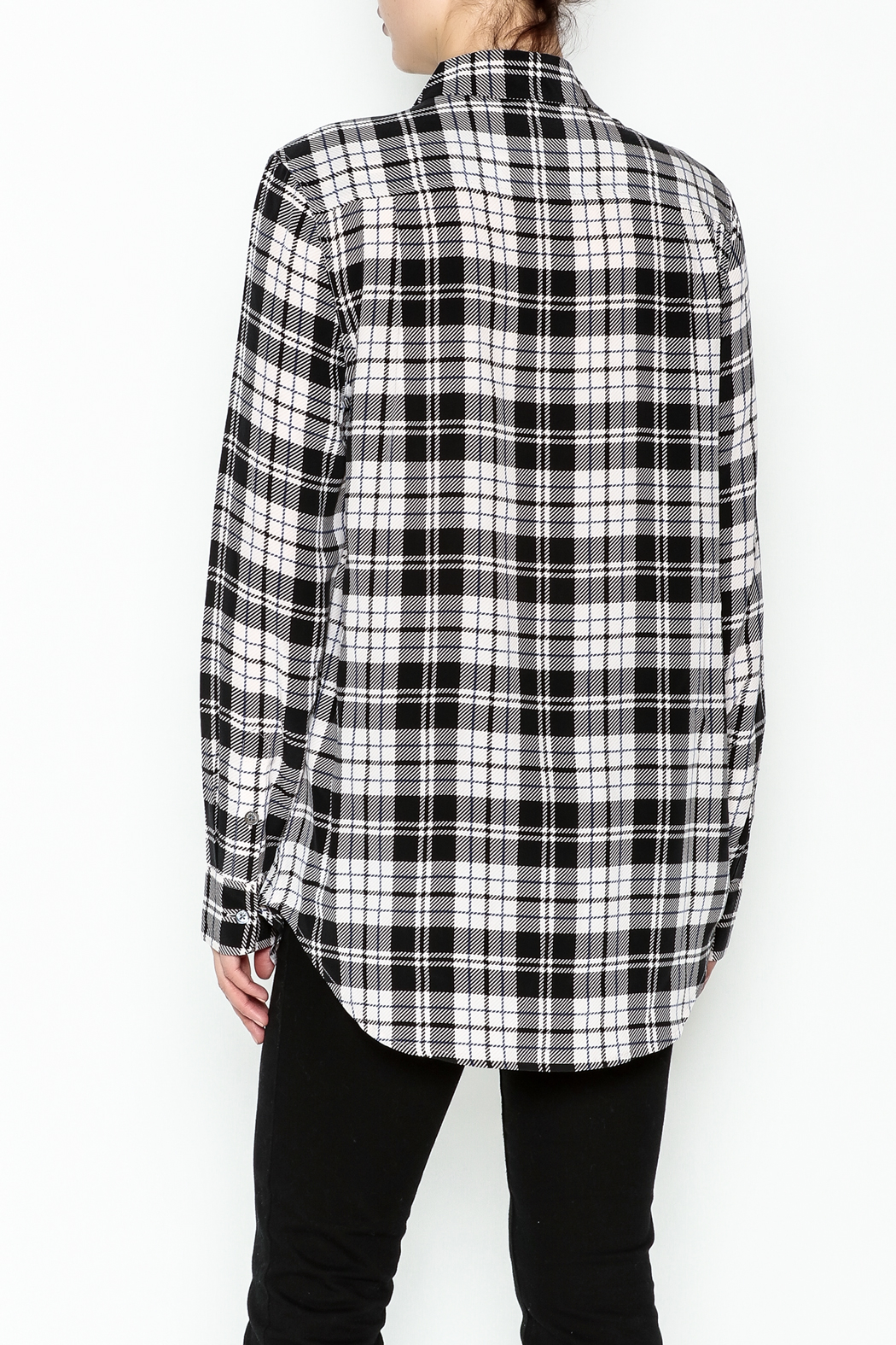 Equipment French Nude Plaid Top - Back Cropped Image