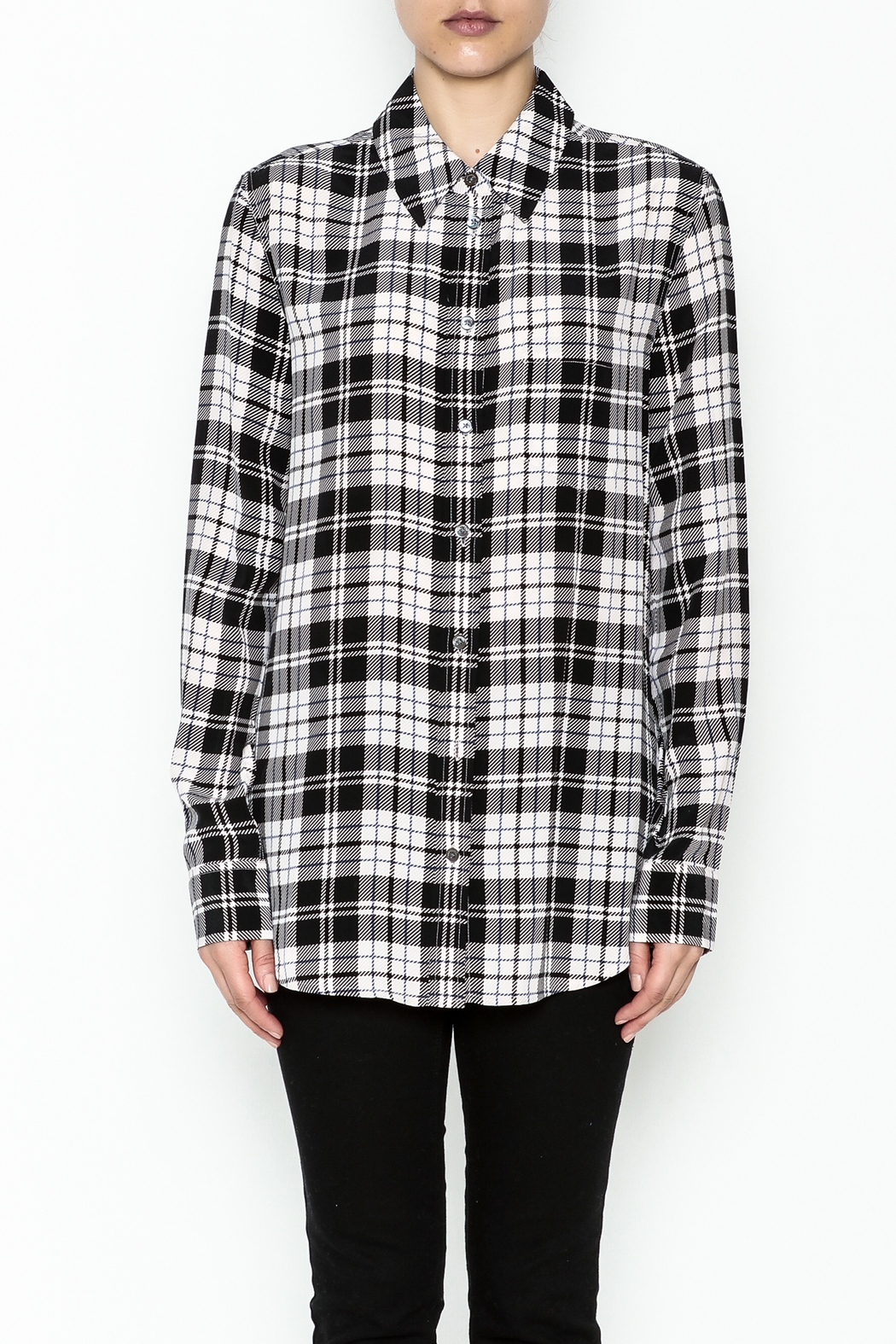 Equipment French Nude Plaid Top - Front Full Image