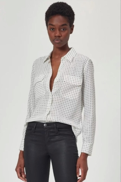 Equipment Slim Signature Silk Shirt In White/black - Product List Image