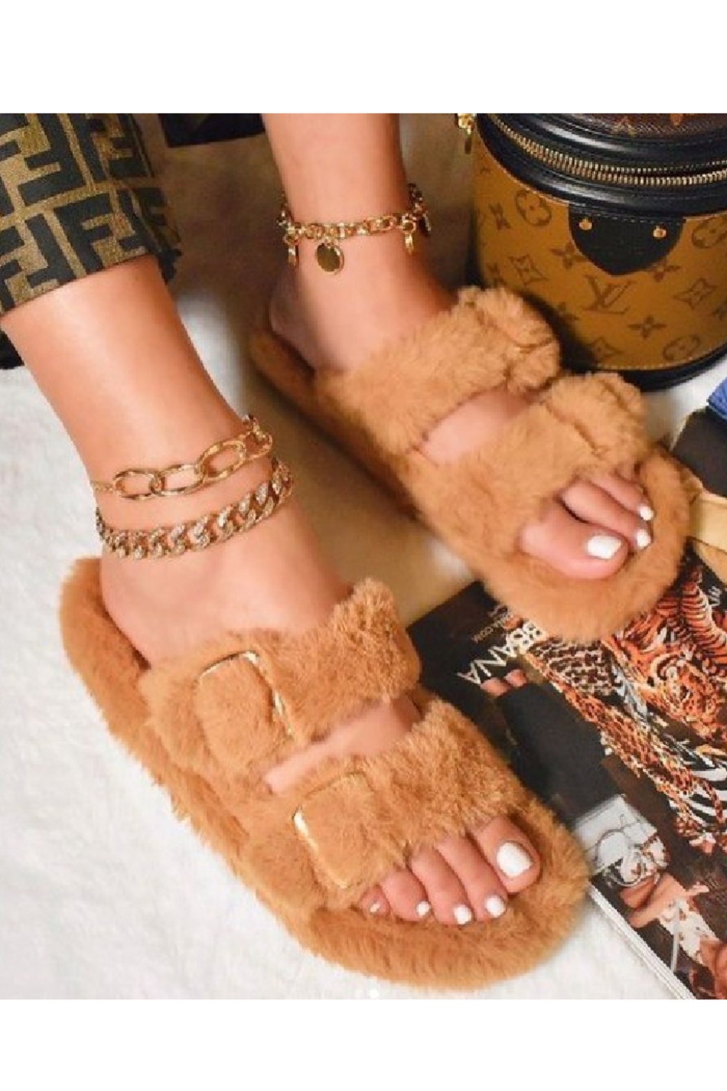 Anna Erika Furry Slides - Front Cropped Image