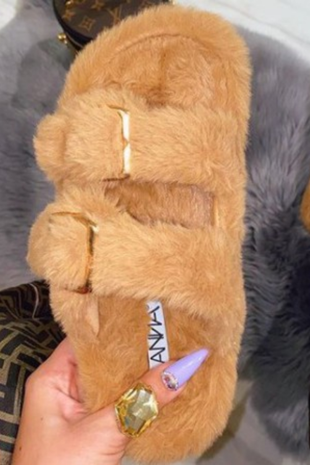 Anna Erika Furry Slides - Front Full Image