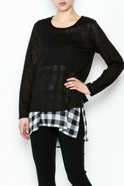 Erin London Checkered Black Top Set - Product Mini Image