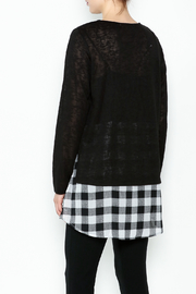Erin London Checkered Black Top Set - Back cropped