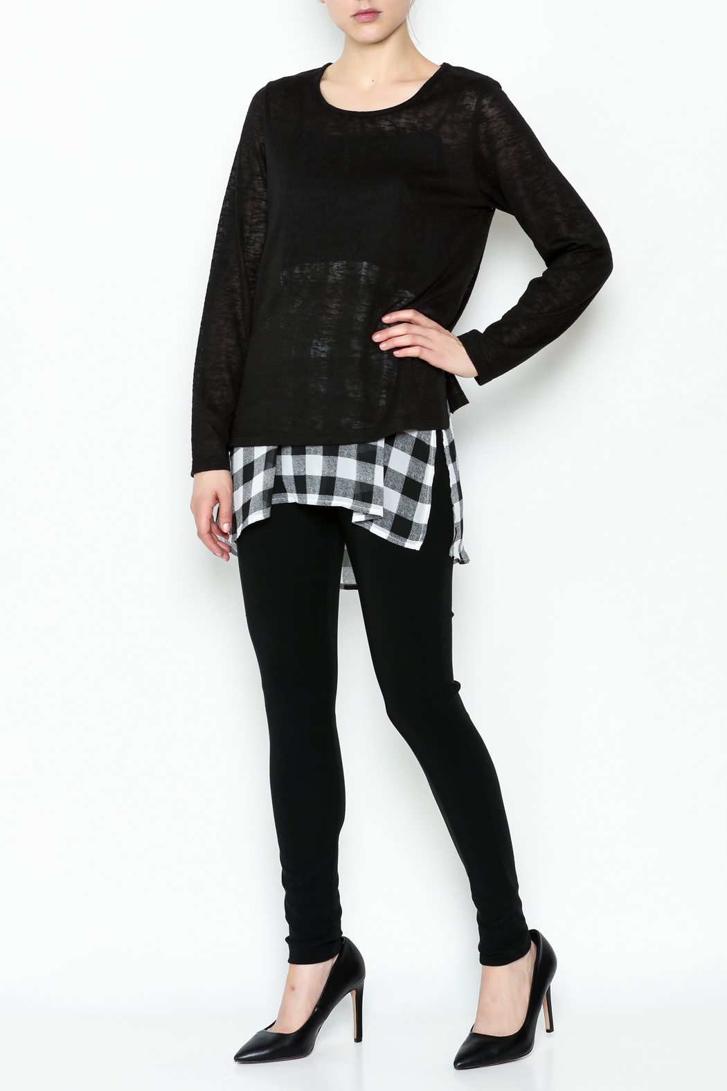 Erin London Checkered Black Top Set - Side Cropped Image