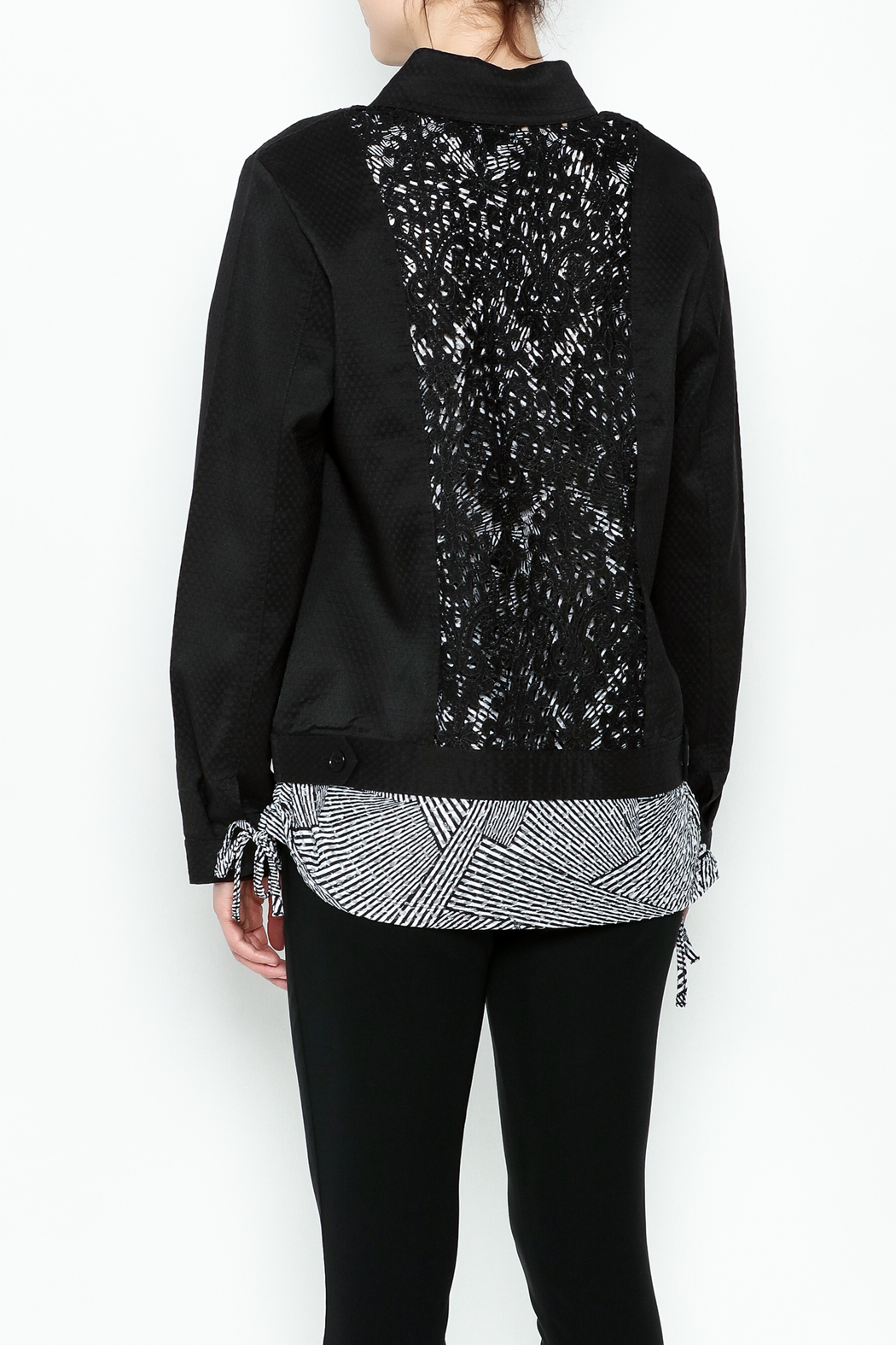 Erin London Black Lace Classy Jacket - Back Cropped Image
