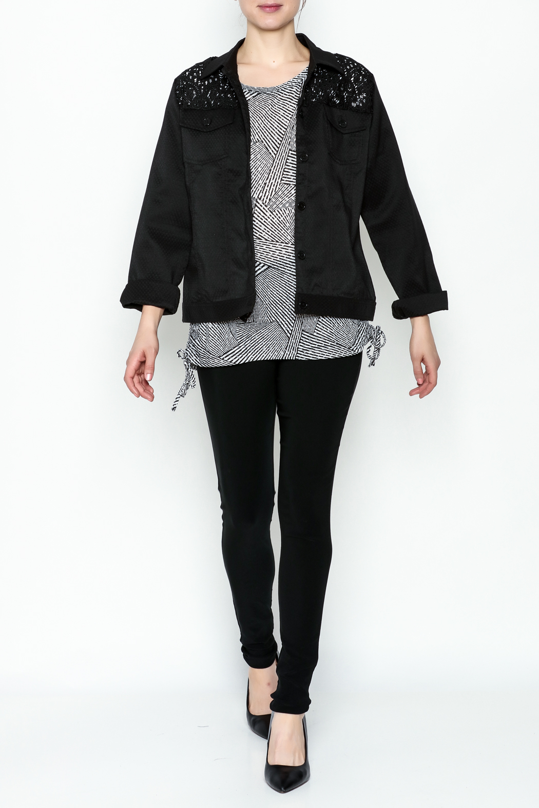 Erin London Black Lace Classy Jacket - Side Cropped Image