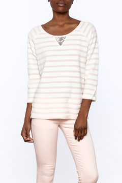 Erin London Peach Lace Back Top - Product List Image