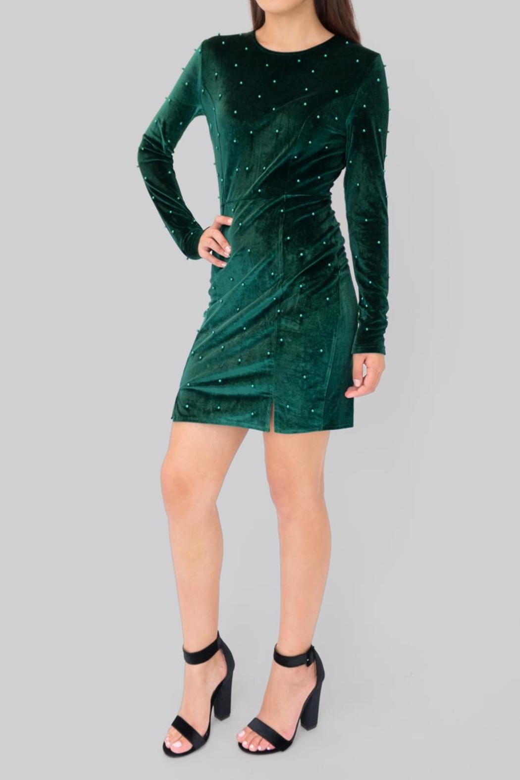 Eros Apparel Embellished Velvet Dress - Front Cropped Image