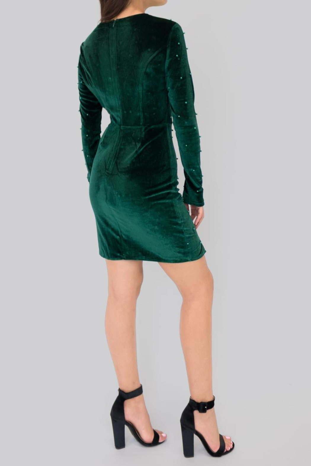 Eros Apparel Embellished Velvet Dress - Front Full Image