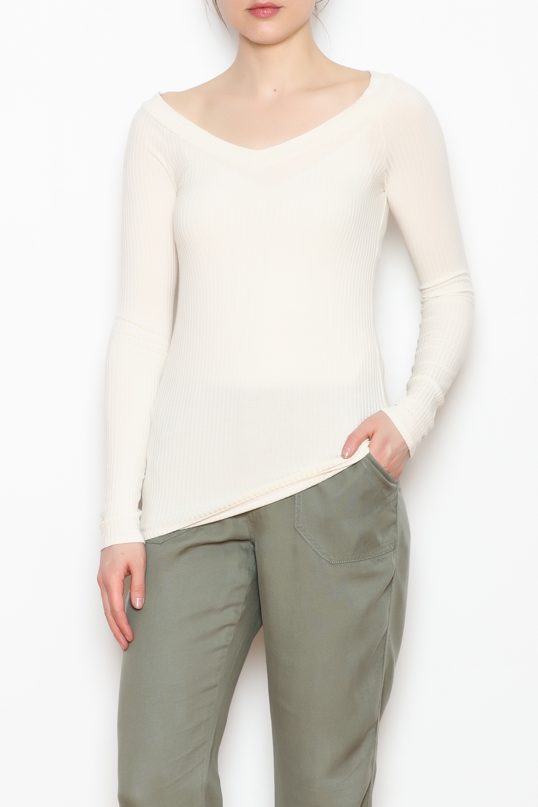 Errant Mabel Ribbed Top - Front Full Image
