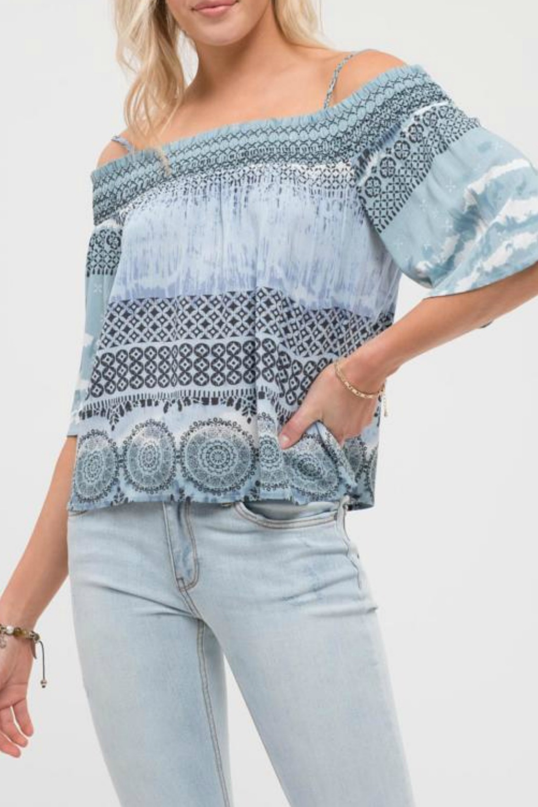Blu Pepper Escape Cold Shoulder Top - Front Full Image