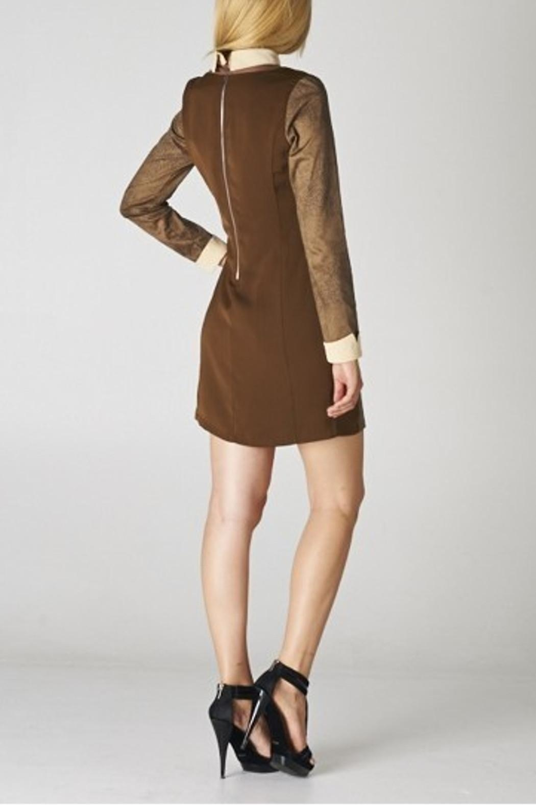 Esley Collar Brown Dress - Side Cropped Image